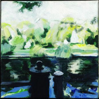 Ufer am Landwehrkanal im Sommer . 30 x 30 cm Acryl auf Leinwand  .  VERKAUFT