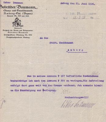 1926 Bauantrag Gewächshaus