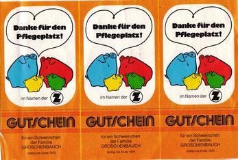Sparschweine. Weltspartagsgeschenke der Sparkasse. Familie Groschenbauch (Zentralsparkasse der Gemeinde Wien).