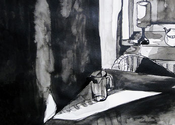 Left behind, 40 x 30 cm, Tinte, 2014.