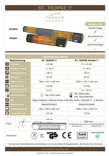 Datenblatt TANSUN St. Tropez Infrarot Heizstrahler