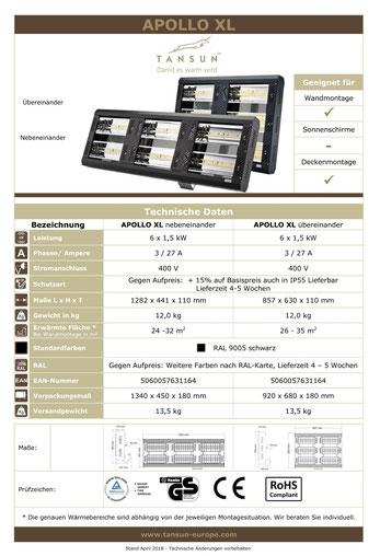 Datenblatt Tansun Wärmestrahler Apollo 6 x 1,5 kW für Arbeitsplatz und Industriehalle