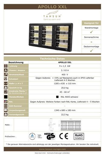 Datenblatt Tansun Wärmestrahler Apollo 9 x 1,5 kW für Arbeitsplatz