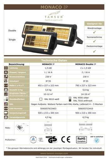 Datenblatt Tansun Monaco 1,5 kW und 2 x 1,5 kW Wärmeleistung