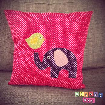Kinderkissen mit Elefant und Vogel, pink - by Kissenkiste
