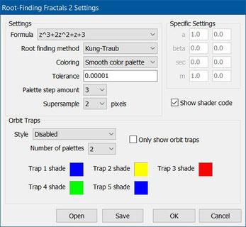 VOC Eingabefenster für Rootfinding