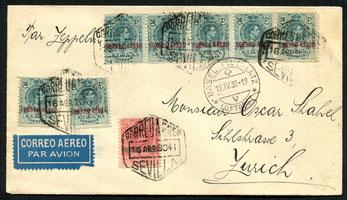 18.4.1930 Sevilla, Flugpostfrankatur für die Zeppelin-Spanienfahrt ab Sevilla vorgesehen. der Anschluss wurde25.5.1932 Kaunas, Karte mit Flugpostfrankatur, mit DERULUFT bis Königsberg  mit DLH nach Berlin, und weiter mit DLH oder mit SWISSAIR nach Zürich.