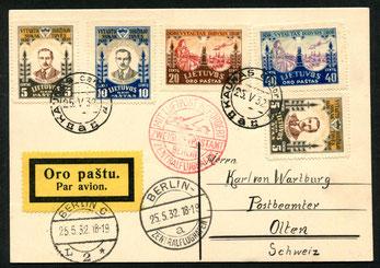 25.5.1932 Kaunas, Karte mit Flugpostfrankatur, mit DERULUFT bis Königsberg  mit DLH nach Berlin, und weiter mit DLH oder mit SWISSAIR nach Zürich.