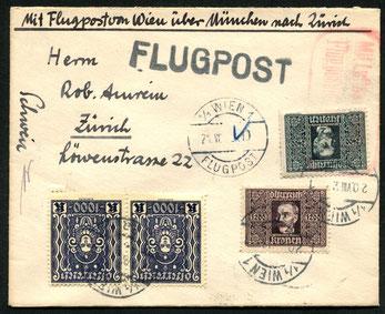 """21.8.1923 Wien, früher Flugbeleg Wien-München-Zürich, bis München mit OELAG, München-Zürich mit AD ASTRA ab 15.5.1923 möglich. Rückseitig AKSt. """"Schweizer Flugpost 22.8.23""""."""