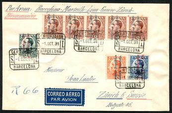 """1.10.1931 Barcelona, R-Beleg mit CGA nach Paris (entgegen des Leitvermerks) mit rückseitigem Stempel """"Paris Avion 2.10.1931"""", Paris-Zürich mit SWISSAIR/CIDNA (ab 1.5.1931 möglich), rückseitig AKSt. """"Zürich Luftpost 3.10.1931""""."""