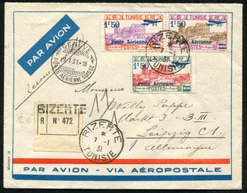 7.1.1931 Bizerte, R-Beleg mit Flugpostfrankatur Tunis-Marseille-Genf mit AU, in Genf Umlad (9.1.31) auf die DLH-Linie Genf-Stuttgart und weiter bis Leipzig. Schweizer Transitbeleg.