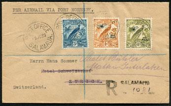 9.6.1933 Salamaua, R-Brief von Salamaua- port Morseby (Papua) der seit 30.9.1932 bestehenden Linie der NGA. Weiterbeförderung per Schiff und Bahn über Sydney in die Schweiz, rückseitig AKSt. Interlaken 22.7.1933.