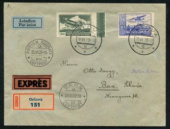 """23.6.1932 Orlova,  R-Expressbrief über Prag-Zürich-Bern mit CLS/AD ASTRA, rückseitig Flugpost-Abgangsstempel von Prag und AKSt. """"Bern Telegraph 23.6.1932-20""""."""