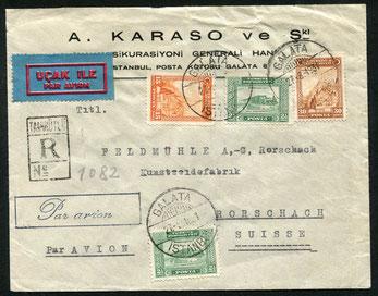 27.8.1931 Galata, R-Beleg mit CIDNA durchgehend bis Paris, rückseitig Transitstempel von paris und Lyon, mit AU bis Genf. Weitere Beförderung mit Flugpost ist nicht nachweisbar.