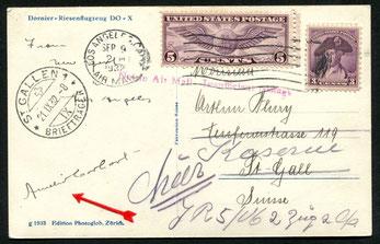 9.9.1932 Los Angeles, Karte an einen Schweizer Rekruten (in St.Gallen umgeleitet), Absenderin ist die berühmte Amerikanische Flugpionierin AMELIA EARHART welche seit 1937 anlässlich eines Fluges über dem Pazifik vermisst wird. Die Karte mit dem Vermerkste