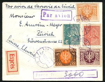 """23.6.1923 Warschau, R-Expressbrief für die französische CFRNA-Linie (ab 1925 von der CIDNA übernommen) Warschau-Prag-Strassburg-Paris, rückseitig AKSt. """"Zürich telegraph 30.6.1923""""."""