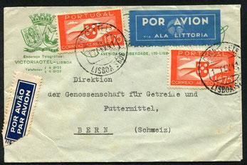 """17.2.1941 Lissabon, Flugpostfrankatur Lissabon-Madrid-Schweiz mit DLH/IBERIA via Rom, resp. über Stuttgart möglich. Rückseitig Stempel """"Lisboa Correo Aereo"""". Keine weiteren Vermeke."""
