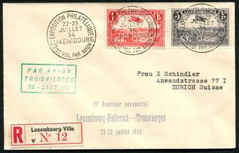 23.7.1934 Luxemburg, R-Beleg vom 3. oder 4. Flug Luxemburg-Troisvièrges (Belgische Grenze). Die Daten des Entwertungsstempels und Dreizeiler-Sonderstempel stimmen nicht überein.