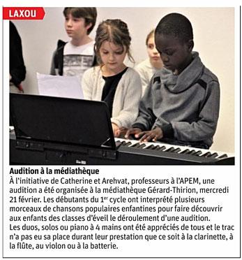 ER du 25 février 2018 - audition des élèves de 1er cycle à la Médiathèque de Laxou