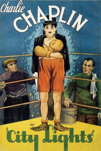 "1931 film poster of ""City Lights"" that Meher Baba saw in this cinema."