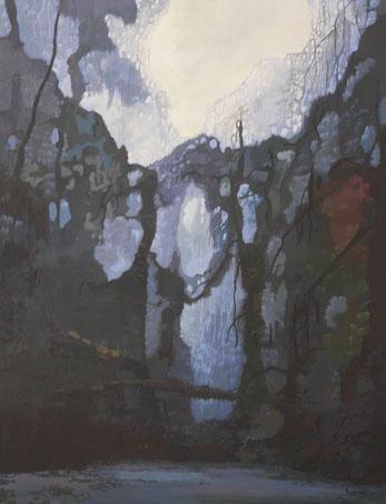 """Martin Guido Becker, """"Trabantenstadt"""", Öl/Lwd, 130/100 cm"""