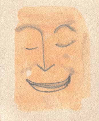 """""""Cara feliz 12"""" Dispersionsfarbe, wasserlösliches Graphit auf Pappe. 2013"""