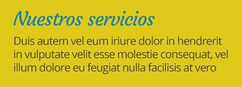 Ejemplo de texto con color azul sobre fondo amarillo.