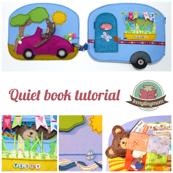 Quiet book sewing tutorial pattern Teddy house activity book