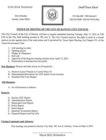 May 11, 2021 Regular Meeting Agenda