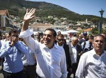 Alexis Tsipras på valgturné.