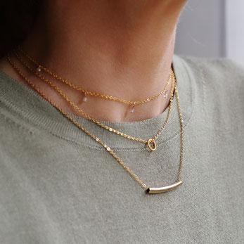 Zierliche filigrane vergoldete kurze Halsketten mit kleinen Anhängern oder kleinen Edelsteinperlen. In Kombination perfekt geeignet um einen Layer Look zu kreieren. Angesagt und im Trend, bekannt von Bloggern und Influencern