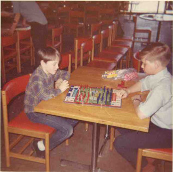 Rob Kuntz (right) and Ernie Gygax playing Stratego. Photo courtesy of John Bobek.