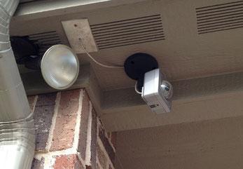Back yard camera under the rear eaves.