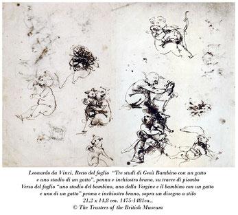 Leonardo da Vinci_Studio del Bambino con il gatto_British Museum Londra