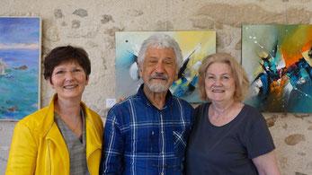 De gauche à droite : Valérie Najand accueille, entre autres artistes, Jean-François Millan et Dominique Vanderveken.