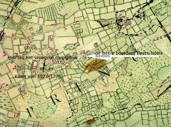 Oude stafkaart van 1771. Hulst en omgeving. Achtergrond groen.