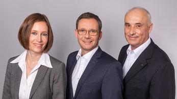 Die Geschäftsführung: Eva Beuscher, Andreas Krafft und Ferdinand W. Morbach