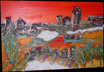 Sonnenaufgang Acryl 2008 70cm x 70cm