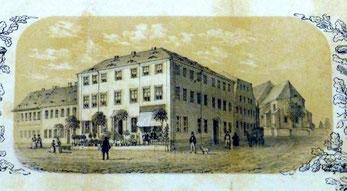 """Das """"Knoblochsche Haus"""" Hauptstraße 16 / Ecke Kirchstraße, Rechts anschließend (vor der Kirche) das spätere 2. Knoblochsche Haus Kirchstraße 1. Originalbild von 1853."""