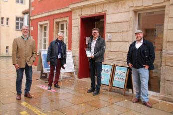 OB Jürgen Schröppel, Dr. Karl-Friedrich Ossberger, MdL Alfons Brandl und Simon Sulk (v.l.n.r.) nach dem Besuch des Weißenburger RömerMuseums