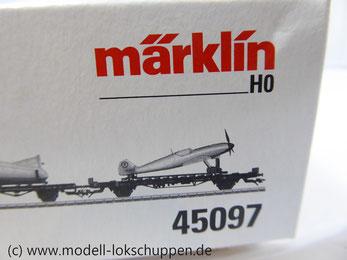 Märklin 45097 Wagen-Set - 6 Flachwagen und 1 Güterzug-Begleitwagen DRG Flugzeug-Transport Me 109