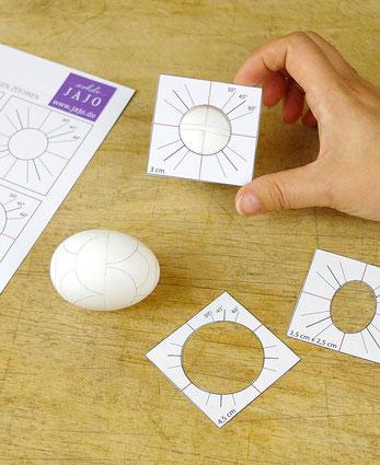 Lochschablone richtig anlegen - Kreise auf sorbischen Ostereiern zeichnen