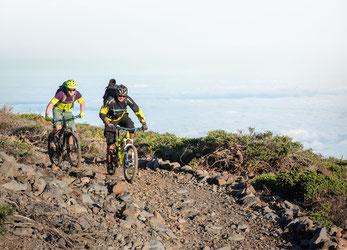Mountainbike fahren im Nordwesten der Insel La Palma, Kanaren