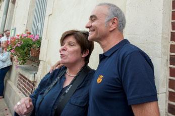 Un moment de répit pour Nathalie Roux, présidente du comité des fêtes, en compagnie de Jean-Pierre Mader.