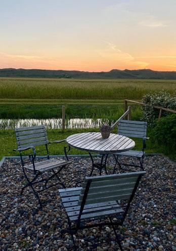Wohnzimmer mit Ausblick auf die Terrasse