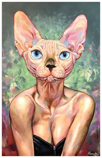 """""""Sphynx Cat - waiting"""" Was empfindest Du bei diesem Ölgemälde von Aum Kaewalin?"""