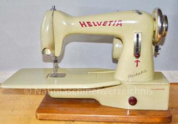 Helvetia Portable Freiarm-Nähmaschine, Baujahr ca. 1952, Hersteller: ehem. Schweizerische Nähmaschinenfabrik Luzern, Helvetia  (Bilder: Eduard Weber)