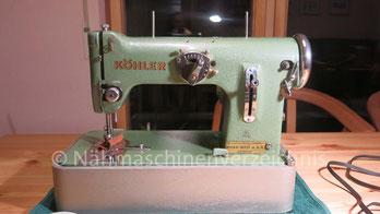 Köhler Klasse 50, Zickzack-Koffernähmaschine mit Anbaumotor. Herstellungszeitraum zweite Hälfte der 50er Jahre. Hersteller: VEB-Nähmaschinenwerk Altenburg (Bilder: Volker)