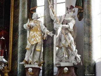 Hochaltlarfiguren St. Aquilin (links), St. Georg (rechts)