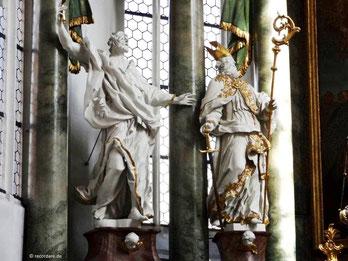 Hochaltlarfiguren St. Bartholomäus (links), St. Kilian (rechts)